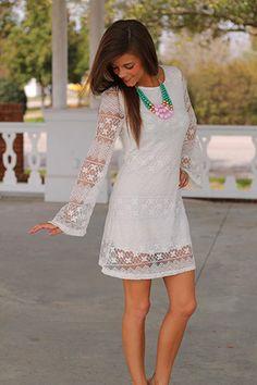 Maria Lace Dress, White on Wanelo