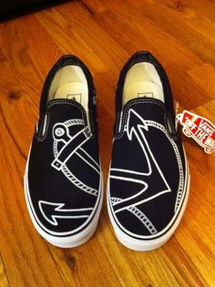 @Elisabeth Ingram Ingram Ingram Ingram Boucher Hand Painted Shoes - Anchor Vans.
