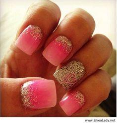 Pink heart nails - LikeaLady.net