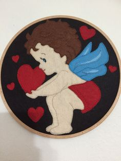 Felt Love Angel hoop art Love Angel wall decor Love Angel