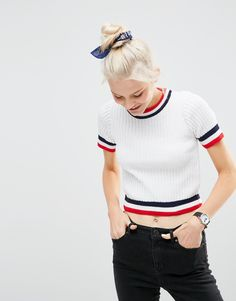 ASOS - Pull côtelé à manches courtes et bords contrastants
