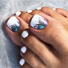 30 Toe Nail Art Designs to Keep Up With Trends # Pretty Toe Nails, Cute Toe Nails, My Nails, Pretty Toes, Toe Nail Color, Toe Nail Art, Nail Polish Colors, White Toe Nail Polish, White Shellac Nails