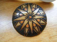 Vintage Natural Wood Brooch  Circular Wood Brooch by gammiannes, $18.00