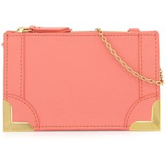 Foley + Corinna Foley + Corinna Framed Petite Leather Crossbody Bag (74 AUD) ❤ liked on Polyvore featuring bags, handbags, shoulder bags, coral, red shoulder bag, crossbody shoulder bags, genuine leather handbags, crossbody handbags and leather cross body purse