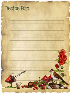 Printable Recipe Card With Nature Art Bird Ladybugs Mice by joyart, $4.00; pay once and download instantly; ten print as often as you wish!