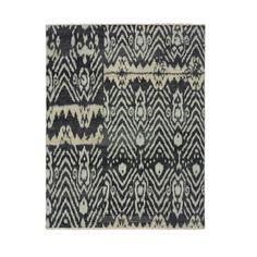 Luke Irwin, Ikat Asmara Hand Knotted Rug, 6x9', Black