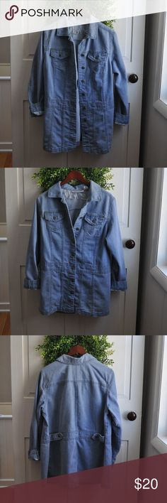 Roman's Vintage 14W Jean Denim Jacket Vintage light wash jacket for posh Size 14 W, would look great worn as an over sized jacket. Can roll sleeves for cuffed look or leave unrolled. All buttons in tact. In excellent used condition! Measures 30 inches from shoulder to hem, and 20 inches flat lay across chest. Offers are welcome, and bundling is encouraged! Lots of other items listed in my closet. Roman's Jackets & Coats Jean Jackets