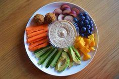 vegetables, hummus, falafel, fruit
