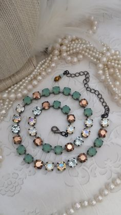 New: MARINER. 8mm Genuine Swarovski Crystal Necklace/Choker. Pacific Opal, Rose Gold, Lt. Azure and Moonlight. Captivating, Glowing Color