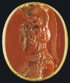 Athena Parthenos. Intaglio. Red jasper. 1st century B.C. Work of carver Aspasius.Rome, Roman National Museum, Palazzo Massimo alle Terme.