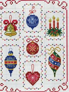 I think these ornaments are just so pretty...think I would make them individually, than as one whole piece, myself...love the lights as the border around each ornament...more charts on site