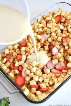 Strawberry French Toast Bake - Southern Made Simple Strawberry . - Strawberry French Toast Bake – Southern Made Simple Strawberry French Toast Bake - Breakfast Appetizers, Breakfast Dishes, Breakfast Dessert, Quick Breakfast Ideas, Breakfast For Dinner, Breakfast Time, Tasty Breakfast Recipes, Easy Brunch Recipes, Coffee Dessert