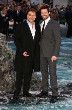 Russell Crowe and Hugh Jackman at the London Noah Premiere