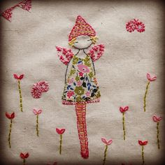 Applique and embroidery.  Fairy Canvas by lili_popo, via Flickr