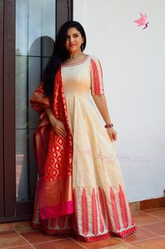 Beige and red floor length Anarkali with red threadwork by hand on the neckline and kalidar skirt Anarkali Frock, Saree Gown, Sari Dress, Lehenga, Stylish Gown, Stylish Dresses, Fashion Dresses, Crop Top Dress, Long Gown Dress