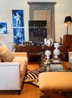 Nail head detail #sofa pairs beautifully with  our #zebra print pelt rug at #Dallas #Mecox #interiordesign #mecoxgardens #furniture #shopping #home #decor #design #room #designidea #vintage #antiques #garden