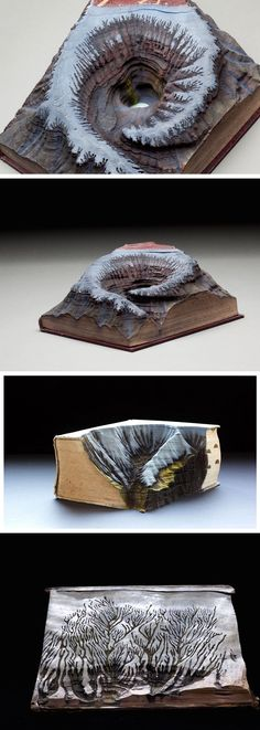 New Snowcapped Mountains and Swirling Vortexes Excavated from Vintage Books by Guy Laramée