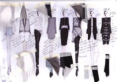 Fashion Sketchbook - fashion illustrations & fabric samples - developing a fashion collection; UNI Source by dress night Illustration Mode, Fashion Illustration Sketches, Fashion Sketches, Fashion Drawings, Sketchbook Layout, Textiles Sketchbook, Sketchbook Ideas, Sketchbook Drawings, Sketchbook Inspiration