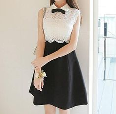 """XS-L Black and White Sleeveless Bowknot Lace Dress Coupon code """"cutekawaii"""" for 10% off"""