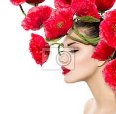 Simple Tableau Poster Beauty Fashion Model Woman with Red Poppy Flowers in her Hair