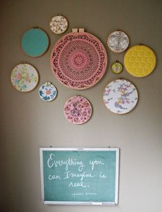 Embroidery hoops with vintage fabrics, pillowcases, and doilies for a little girl's room or anywhere in your house depending on the fabrics and colors you use.