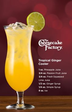 Try our at home recipe for the non-alcoholic Tropical Ginger Cooler! Build in a mixing glass without ice. Shake well & pour into glass and top with Soda Water. Garnish with a lime wheel. Refreshing Drinks, Summer Drinks, Fun Drinks, Healthy Drinks, Beverages, Liquor Drinks, Non Alcoholic Drinks, Passion Fruit Juice, Alcohol Drink Recipes