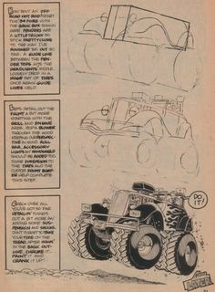 George Trosley - How to draw: Off road hot rod, Ford 1934 Conceptual Sketches, Art Sketches, Cool Car Drawings, Art Drawings, Monster Truck Coloring Pages, Cartoon Car Drawing, Cartoons Magazine, Bell Art, Cartoon Books