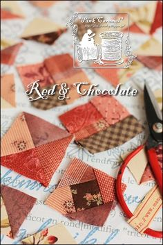 Pink Caramel: Tiny Quilt ~ Red & Chocolate