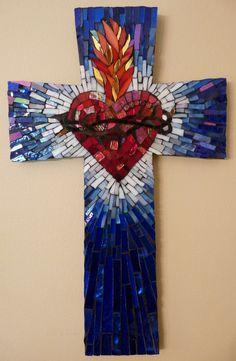 Commissions - Julie Mazzoni Mosaics Mosaic Crosses, Wall Crosses, Heart Of Jesus, Jesus On The Cross, Cross Art, Faux Stained Glass, Mosaic Art, Mosaic Glass, Cross Paintings