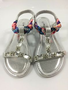 69a7d9856d8 Womens Silver Sandals Ladies Low Wedge Heel T Strap Summer Shoes Size UK 3  New