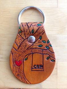 Leather Keychain Key Fob Tree Key Ring Love by LoveThatLeather