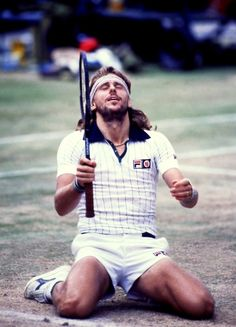 Bjorn Borg celebrates his 5th Wimbledon title, 1980.  #tennis