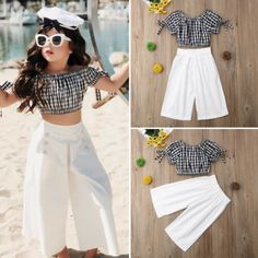 Amy Gingham Top & Sailor Pants Set