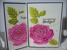 Stampin Up - Dankeskarte - Thank You Card - Grusskarte - Wedding card - Hochzeitskarte - Stempelset Rosengarten - Embossing - Aquarell - Aquarelletechnique ♥ StempelnmitLiebe