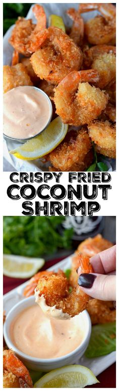 This Crispy Fried Coconut Shrimp recipe is fantastic! Super crunchy jumbo shrimp, with a slight sweetness from the coconut. Dipped in creamy Sriracha sauce, I guarantee they will be devoured quickly. #friedshrimp #coconutshrimp #30minutedinner #appetizers #shrimp