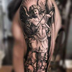 Saint Michael Tattoos Designs & Meanings – Protect Yourself - tattooeng. Angel Sleeve Tattoo, V Tattoo, Body Art Tattoos, Sleeve Tattoos, Tatoos, St. Michael Tattoo, Archangel Michael Tattoo, Religous Tattoo, Saint Tattoo