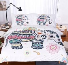 Sleepwish 3 PCS Duvet Cover with 2 Pillow Shams, Elephant Bed Set, Bohemian Bedding, Rainbow Line Art (Queen) Bohemian Bedding Sets, Hippie Bedding, Boho Bedding, Luxury Bedding Sets, Boho Comforters, Bohemian Bedspread, Chic Bedding, Unique Bedding, Custom Bedding