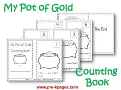 Printable Pot of Gold Counting Book for St. Patrick's Day in Preschool via www.pre-kpages.com