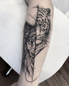 Womens Tiger Tattoo: Superb Concepts to Enhance Braveness - Tattoos for Couples,Tattoos for Women Wolf Tattoos For Women, Cool Tattoos For Guys, Badass Tattoos, Unique Tattoos, Girl Tattoos, Tattoo Sleeve Designs, Sleeve Tattoos, Piston Tattoo, Tiger Tattoo Design