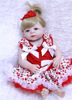 "86.74$  Watch now - http://alibk7.shopchina.info/go.php?t=32810911093 - ""22"""" 55cm soft full silicone reborn baby dolls realistic newborn girl babies red princess dress children dolls toys bebe alive  ""  #aliexpressideas"