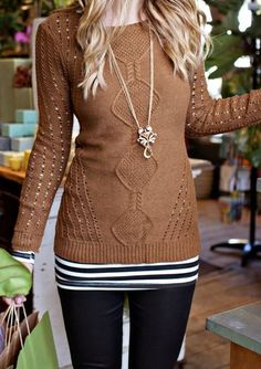 cinnamon colored knit sweater over striped shirt...very pretty
