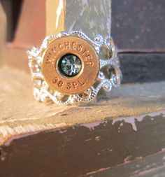 Winchester Bullet Slice Ring with Topaz Inset