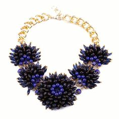 NEW Blue Resin Hand Beaded Bubble Bib Statement Necklace Antique Gold Chain US #StatementClusterCupcake