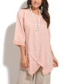 Loving this 100% LIN Light Pink Sidney Linen Tunic on #zulily! #zulilyfinds