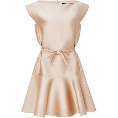 Paule Ka Duchesse Satin Flared Dress found on Polyvore featuring dresses, pink cap sleeve dress, flare cocktail dress, boat neck dress, boat neckline dress and pink flare dress