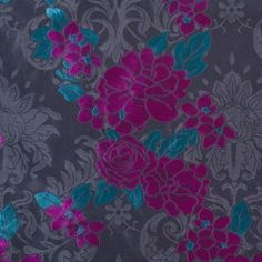 Here's a strikingly pretty poly brocade from Italy. It features large flowers in magenta and teal on a jet black background. Lightweight, with a crisp hand and stiff drape, much like a taffeta. Dresses are perfect for this pretty fabric!