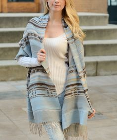 Look at this Powder Blue Southwestern Tassel Blanket Scarf on #zulily today!