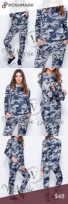 Grey Camouflage Lounge Set Gorgeous long sleeves camouflage loungewear set. So comfortable and trendy! Has slim fitting bottoms, casual top and overall stretchy comfy fabric.  95% polyester 5 spandex. Have sizes S/M (2-6) M/L (8-10) - color is more grey than it is blue looking. ValMarie Pants
