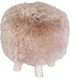 Nordic taupe faux fur stool | Departures & Arrivals