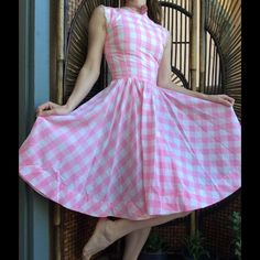 """Vintage Handmade Pink Checker Pin Up Lace Gown Good condition. Smoke free home. I have multiples of these in red, pink & blue. I'm going to individually list b/c each has individual measurements. These came from a ballet studio theatre company. Oklahoma musical. Hook eyes up back all work. Cosplay. Dress up. Dolly. Lolita. Measurements Laying Flat Waist 12"""" length 39"""" side seam armpit to waist 8"""" Armpit to pit 15"""". Light weight. Swing. Dancer. Costume. Feminine. Classic American. Summer…"""